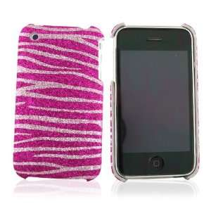 For iPhone 3Gs Glitter Hard Case Hot Baby Pink Zebra
