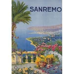SANREMO SEA OCEAN BEACH FLOWERS ITALY ITALIA SMALL VINTAGE