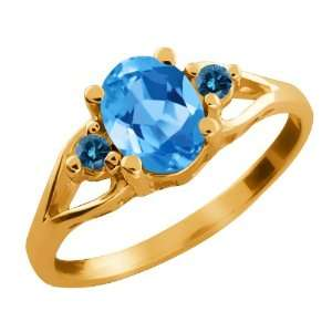 1.56 Ct Oval Swiss Blue Topaz and Blue Diamond 18k Yellow
