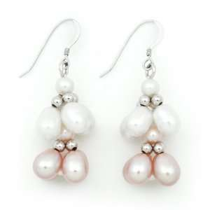 Sterling Silver Pink and White Freshwater Pearl Earrings QE 10019 AM