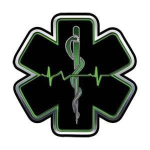 Green EMT EMS Star Of Life With Heartbeat   24 h