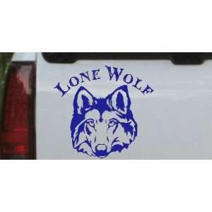 Lone Wolf Head Biker Car Window Wall Laptop Decal Sticker    Blue 16in