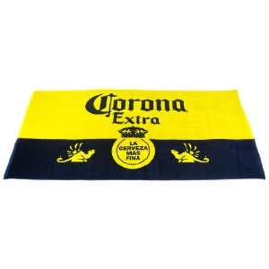 Blue / Yellow Corona Extra Crown Logo Beach Towel: Home