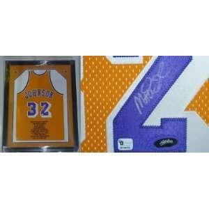 Magic Johnson Autographed Uniform   Framed Global COA   Autographed