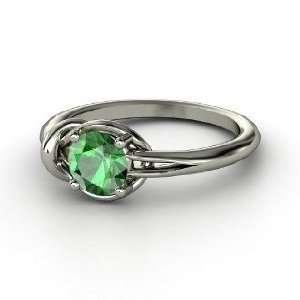 Hercules Knot Ring, Round Emerald Platinum Ring Jewelry