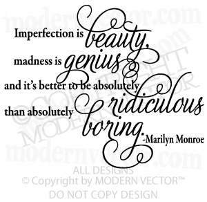 Marilyn Monroe Quote Vinyl Wall Quote Decal BEAUTY