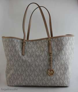 Michael KORS Jet Set LOGO PVC MK White Medium Travel Tote Bag $248 NWT