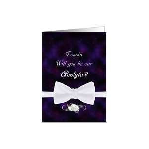 Cousin, Will You Our Acolyte Elegant White Bow Tie Card