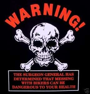 WARNING SKELETON SKULL DANGEROUS BIKER T SHIRT WS48