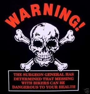 WARNING SKELETON SKULL DANGEROUS BIKER T SHIRT WS48