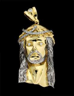 New Gold on .925 Sterling Silver Jesus Face Piece