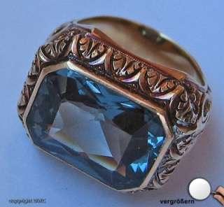 Goldringe Antikringe Topasring Antikring 14kt Gold Ring Blau Topas