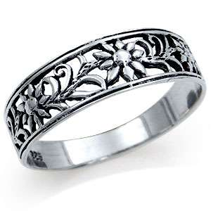 925 sterling silver flower filigree band ring rn2072893 0001