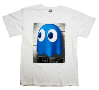 Pac Man Namco Inky Ghost Mugshot Retro Video Game T Shirt Tee