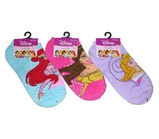 PAIR Disney Princess Kids Girls Ankle Socks 6 8 NEW
