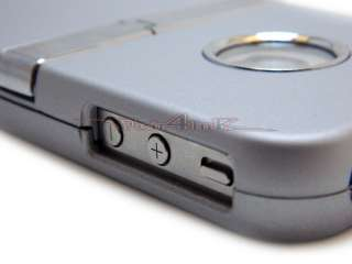 SILVER GREY DELUXE HARD CASE COVER WITH CHROME STAND RUBBERIZED IPHONE
