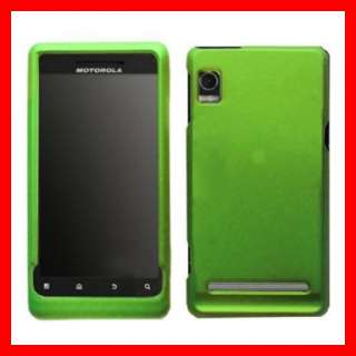GREEN RUBBER HARD CRYSTAL CASE COVER MOTOROLA DROID 2