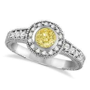 Yellow Canary and White Diamond Antique Style Ring 14K W