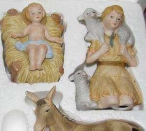 Homco 9 Pc Nativity Set 5599 Home Interiors Porcelain Figurines With
