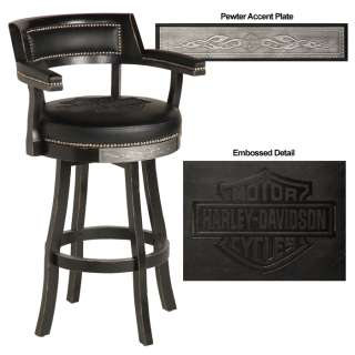 HARLEY DAVIDSON BAR & SHIELD FLAMES BARSTOOL WITH BACKREST   BLACK