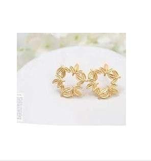 Korean Style Flower Embellished Earrings Gold HY1104270
