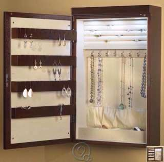 Cherry 24 Inch Wall Mounted Lighted Jewelry Armoire Chest w/ Lining