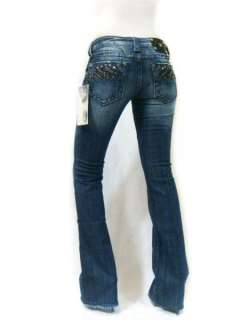 NWT MISS ME Studded Rhinestone Soar Flying Angel Wings Dark Blue Jeans