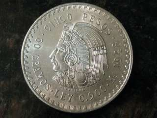 1947 1948 Cinco Pesos Cuauhtemoc 0.900 oz of Silver $5 Mexican Sliver