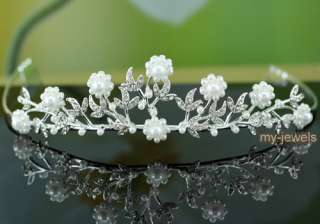 Flower Crystal Faux Pearl Bridal Wedding Tiara T1186