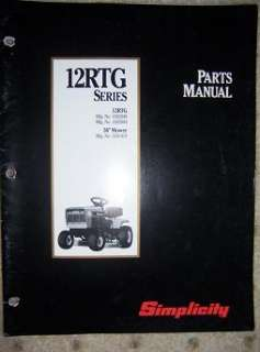 1992 Simplicity 12 RTG Tractor Mower Parts Manual A