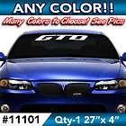PONTIAC GTO WINDSHIELD DECAL STICKER 27w x4h in ANY C
