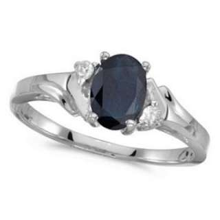 95ct Oval Blue Sapphire & Diamond Ring 14K White Gold
