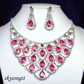 Swarovski Pink Crystal Rhinestone Necklace Set S1258P