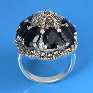 Natural Marcasite and Natural Blue Sapphire Ring (YSR 265)