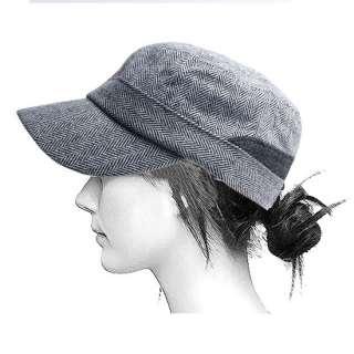 Wool Blends Cap Military Army Cadet Cap Men Women Black Hat / PU 1403