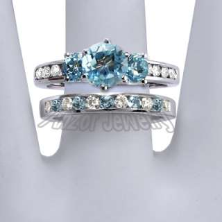 14k White Gold Blue Topaz Diamond Engagement Ring Set
