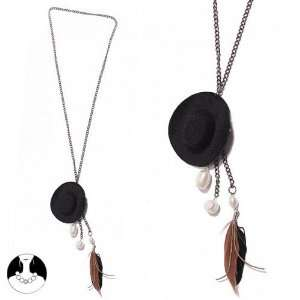 SG PARIS LONG NECKLACE 70CM COW BOY HAT+FEATHER MARRON COMBINAISON