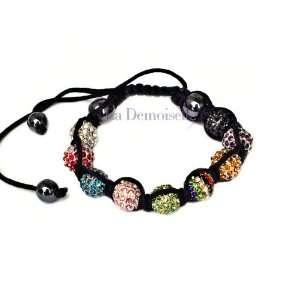 Multi  Color Crystal Beads Disco Ball Adjustable Bracelet Beauty