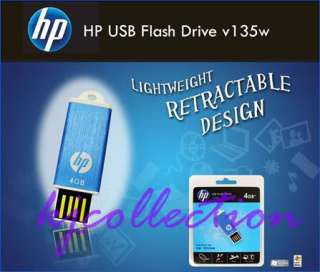 HP 4GB 4G USB Flash Memory Pen Drive Blue v135w