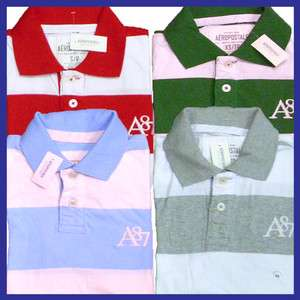 Mens AERO A87 Logo Stripe Polo Shirt Polos Shirts Style 1824