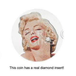 NEW¤ Cook Islands $5 2011 Silver Proof MARILYN MONROE with real