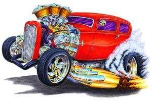 1930s Hot Rod Muscle Car Art Cartoon Tshirt FREE