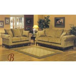 2PC Traditional Style Seymoure Brown Fabric Sofa Couch