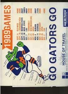 1989 University Florida Gators calendar/schedule MBX9
