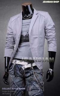VVW Mens Designer Slim Fit Jacket Blazer Coat Shirt Stylish Gray S M L