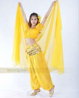DANCE COSTUME TOP +SEQUIN BALLON PANTS YELLOW BD 024 COSTUME