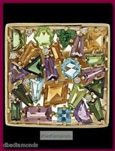 14K Yellow Gold Multi Color Gemstone Designer Ring 1940