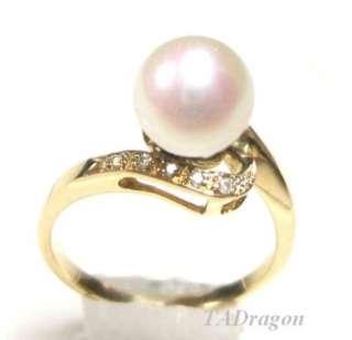 5mm AAA White Pearl 2.10 14K Yellow Gold Diamond Ring