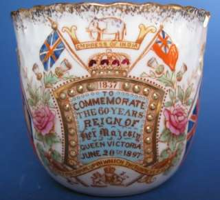 Queen Victoria 1897 Diamond Jubilee   William Lowe Hand Decorated Trio