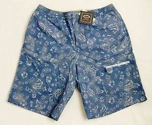 New PAUL & SHARK Yachting Blue w/ Floral Paisleys Swim Shorts Trunks